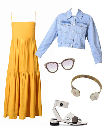 Yellow Dress & Denim Jacket Outfit Inspiration