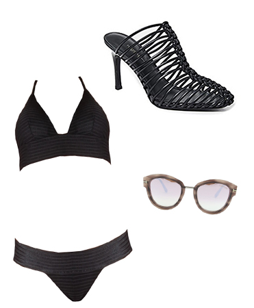 Two Piece Black Bathing Suit Outfit