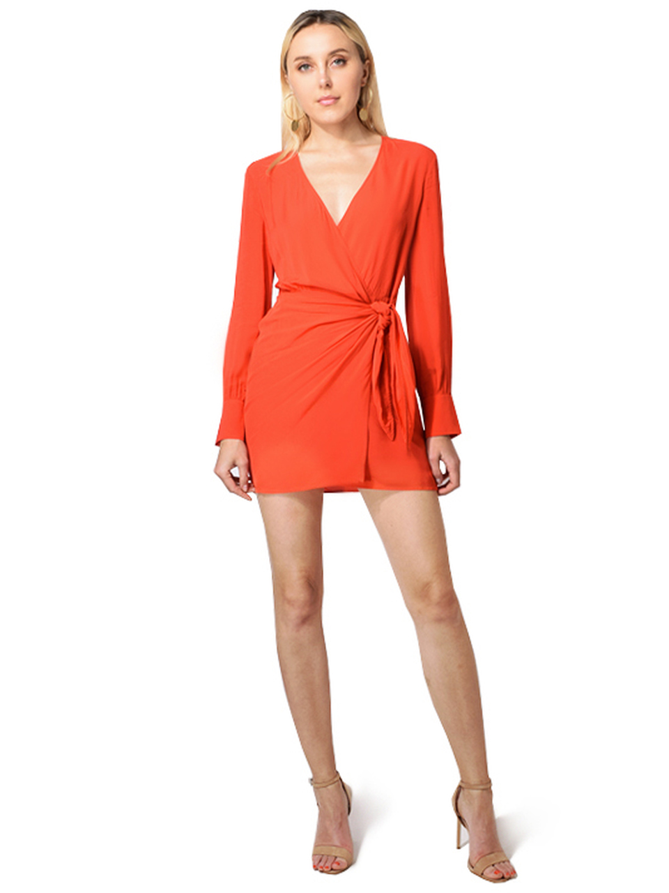 Ophie Long Sleeve Wrap Dress In Coral